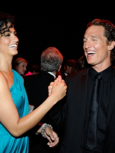 Matthew McConaughey and Camila Alves share a laugh at the AFI Life Achievement Award: A Tribute to Michael Douglas on June 11, 2009 in Culver City, California