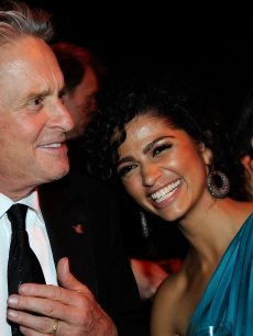 Michael Douglas and Camila Alves are all smiles during the AFI Life Achievement Award: A Tribute to Michael Douglas after party on June 11, 2009 in Culver City, California
