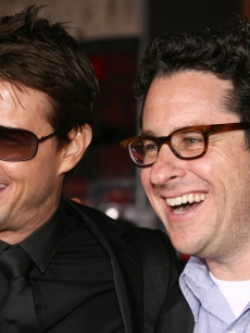 Director J.J. Abrams and actor Tom Cruise arrive at a Paramount Pictures fan screening of 'Mission Impossible III' held at the Grauman's Chinese Theatre on May 4, 2006 in Hollywood