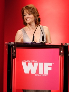 Jodie Foster takes the stage at the Women In Film 2009 Crystal And Lucy Awards on June 12, 2009 in Century City, California