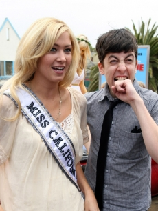 Miss California Tami Farrell and Christopher Mintz-Plasse at Columbia Pictures&#8217; &#8216;Year One&#8217; Beach Battle in Santa Monica, Calif., on June 13, 2009