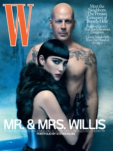 Bruce Willis and Emma Heming on the cover of W magazine's July issue