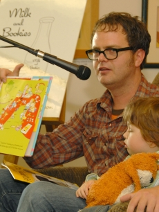 Rainn Wilson with son Walter reads at the Milk and Bookies 'Time to Read' benefit event held in Studio City, California on October 14, 2007