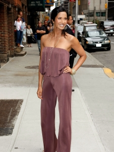 Padma Lakshmi visits the 'Late Show with David Letterman' at the Ed Sullivan Theater on June 17, 2009 in New York City