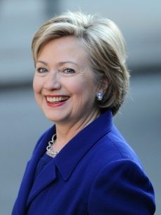 Secretary of State Hillary Clinton joins the Presedential party on visit to 10 Downing Street on April 1, 2009 in London, England