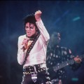 Michael Jackson performs during the Bad Tour in London in 1987