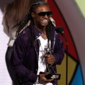 Lil Wayne accepts an award at the 2009 BET Awards at the Shrine Auditorium in Los Angeles on June 28, 2009