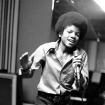 Michael Jackson at age 13, the youngest member of the singing group Jackson Five, sings in his home in Encino, California