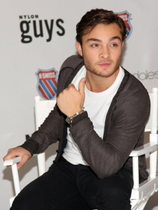 Ed Westwick flashes his signature grin during the debut of K-Swiss re-mastered classic sneakers on June 18, 2009 in New York City