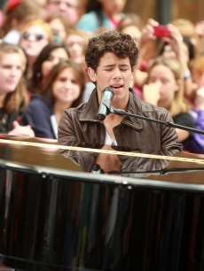 Nick Jonas takes the stage on NBC's 'Today' at Rockefeller Center on June 19, 2009 in New York City