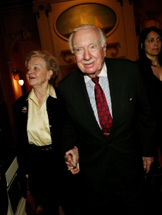 Walter Cronkite and wife attend the 'Master and Commander: The Far Side Of The World' premiere after-party at the New York Yacht Club on November 01, 2003