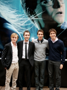 Tom Felton, Matthew Lewis, James Phelps and Oliver Phelps attend the launch of the 'Harry Potter and the Half-Blood Prince' magical tour, held in Leicester Square, on June 19, 2009