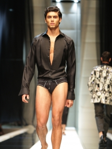 Jesus Luz walks the runway during Milan Menswear Fashion Week Spring/Summer 2010 on June 20, 2009 in Milan