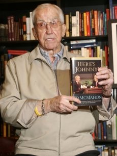 Ed McMahon shows off a copy of his book, &#8216;Here&#8217;s Johnny! My Memories Of Johnny Carson, The Tonight Show and 46 Years Of Friendship&#8217; in Hollywood on December 8, 2005