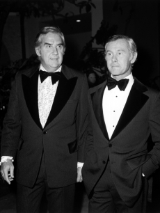'Tonight Show' duo Ed McMahon and Johnny Carson dressed to the nines at a party for Carson in Beverly Hills in June 1972