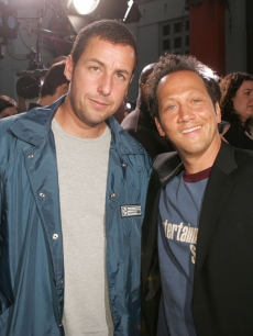 Adam Sandler and Rob Schneider pose at the premiere of 'The Longest Yard' at the Chinese Theater on May 19, 2005 in Los Angeles