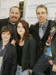 Jon Favreau, Josh Hutcherson, Kristen Stewart, Dax Shepard and Jonah Bobo pose at the premiere of Columbia Picture's 'Zathura: A Space Adventure' at the Village Theater in Los Angeles on November 6, 2005