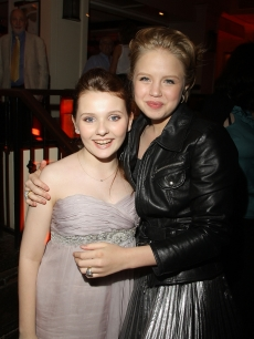 On-screen sisters, Abigail Breslin and Sofia Vassilieva strike a pose during the after party for the New York premiere of &#8216;My Sister&#8217;s Keeper&#8217; in New York City on June 24, 2009