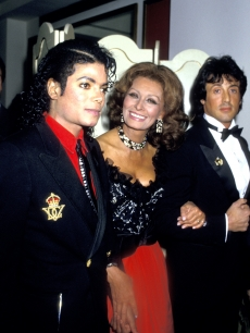 Michael Jackson, Sophia Loren and Sylvester Stallone at the 4th Annual American Cinema Awards, Jan. 1987