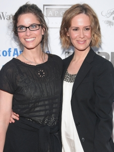 Amanda Peet and Sarah Paulson are all smiles at the Shakespeare in the Park opening night gala performance of 'Twelfth Night' in New York City on June 25, 2009