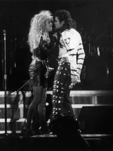 Michael Jackson performs a duet with Sheryl Crow during a concert in Rome, May 1988