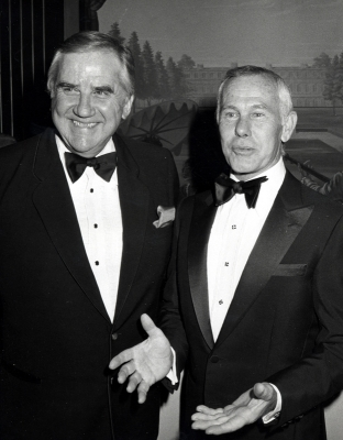'The Tonight Show' counterparts Ed McMahon and Johnny Carson share a smile at a February 1982 gala