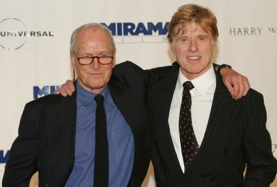 Paul Newman and Robert Redford attend the the Westport Country Playhouse gala benefit dinner in Greenwich, Connecticut on October 14, 2004