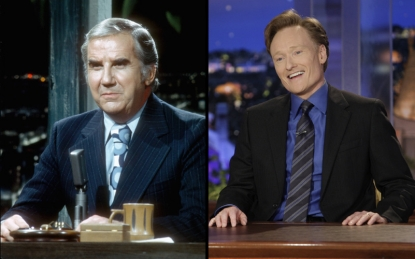 Ed McMahon on the 'Tonight Show' set in the 1970s, Conan O'Brien on the 'Tonight Show' set in 2009
