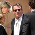Ryan O'Neal arrives to Farrah Fawcett's funeral on June 30, 2009 (Insert: Farrah Fawcett in August 2006)