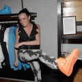 Ali Lohan tries on her new Nike-Nylon shoes