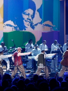 Ralph Tresvant, Michael Bivins, Ronnie DeVoe, Ricky Bell, Bobby Brown and Johnny Gil of New Edition pay tribute to Michael Jackson onstage during the 2009 BET Awards held at the Shrine Auditorium in Los Angeles on June 28, 2009