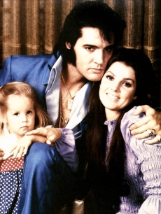 Elvis Presley with ex-wife Priscilla and daughter Lisa Marie on January 1, 1970