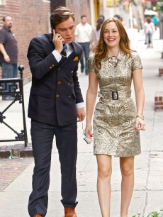 Ed Westwick and Leighton Meester film a scene for &#8216;Gossip Girl&#8217; in NYC, June 29, 2009