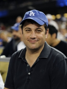 Jimmy Kimmel checks out the action as the Los Angeles Dodgers play the Colorado Rockies in LA on June 29, 2009