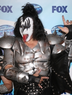 Gene Simmons of KISS poses in the press room during the American Idol Season 8 Grand Finale in Los Angeles on May 20, 2009