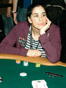 Comedian Sarah Silverman takes a moment to think during the 'Ante Up for Africa' celebrity poker tournament in Las Vegas on July 2, 2009
