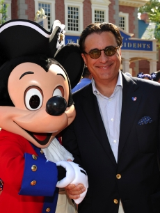 Andy Garcia poses with Mickey Mouse at Disneyworld, July 3, 2009