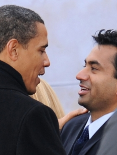 Kal Penn with Obama at the Lincoln Memorial in Washington on January 18, 2009