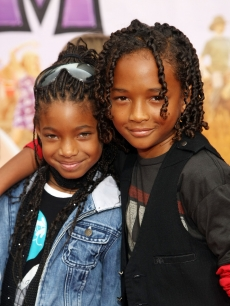 Willow and Jaden Smith attend the 'Hannah Montana The Movie' premiere in Hollywood on April 2, 2009