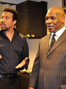 Lionel Richie and Mike Tyson backstage during Michael Jackson's public memorial service held at Staples Center on July 7, 2009 in Los Angeles