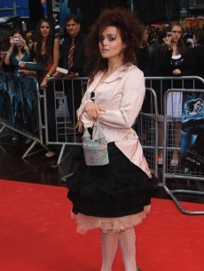 Helena Bonham Carter brings along her fairytale castle handbag as she arrives to the premiere of 'Harry Potter And The Half Blood Prince' in Londong on July 7, 2009