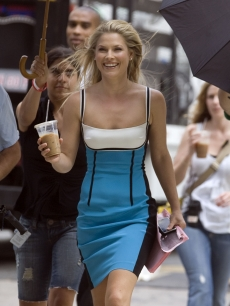 Ali Larter is all smiles with coffee in hand on the set of 'Heroes' in Los Angeles on July 08, 2009