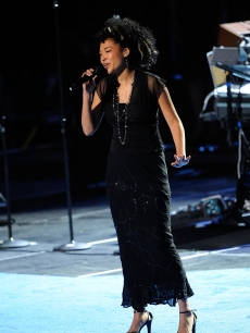 Judith Hill performs at the Michael Jackson public memorial service held at Staples Center, Los Angeles, July 7, 2009