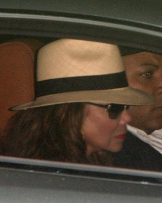 La Toya Jackson leaves Forest Lawn Memorial Park in Los Angeles on July 6, 2009