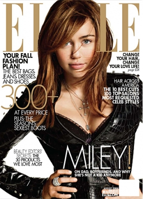 Miley Cyrus on the cover of Elle magazine