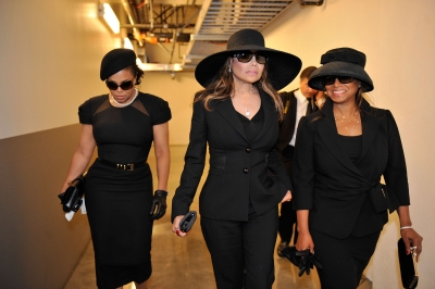 Janet, LaToya and Rebbie Jackson exit backstage following Michael Jackson's public memorial service held at Staples Center on July 7, 2009 in Los Angeles