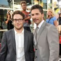 Seth Rogen and Eric Bana strike a pose at the premiere of 'Funny People' in Hollywood on July 20, 2009