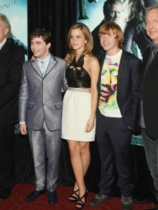 Michael Gambon, Daniel Radcliffe, Emma Watson, Rupert Grint and Alan Rickman attend the 'Harry Potter and the Half-Blood Prince' premiere in New York City on July 9, 2009