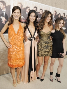 The women of 'Entourage' — Perrey Reeves, Emmanuelle Chriqui, Jamie-Lynn Sigler and Alexis Dziena — arrive at the show's Season 6 premiere in Los Angeles on July 9, 2009