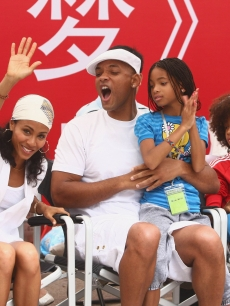 Will Smith, Jada Pinkett, Willow Smith and Jaden Smith attend the starting ceremony of 'The Karate Kid,' Beijing, China July 11, 2009